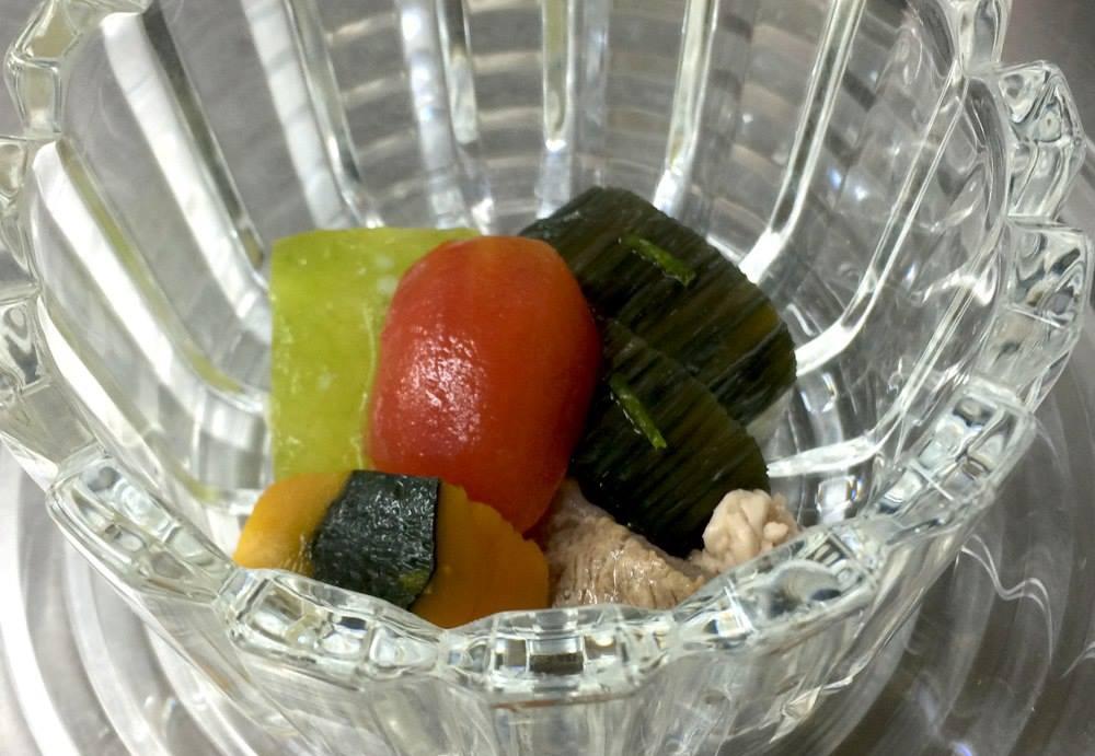 炊き合わせ(冷製) 茄子瑠璃煮、翡翠冬瓜、南瓜、牛筋、トマト
